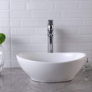 "16""x13"" Oval Egg Shape White Bathroom Vessel Sink Basin - 15.8x13.5x5.5"