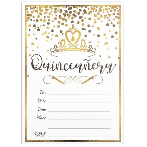 36x Quinceanera Celebration Invitation Envelopes for RSVP Party, Gold 5 x 7 inch - 36 Pack