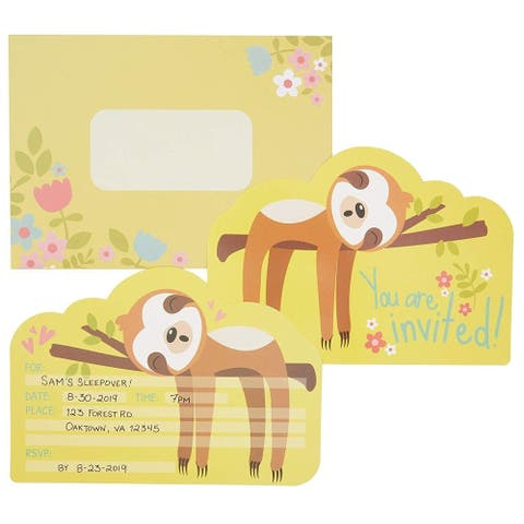 36 Pack Sloth with Floral Invitation Envelopes for RSVP Party, Yellow 5 x 7 inch - 36 Pack