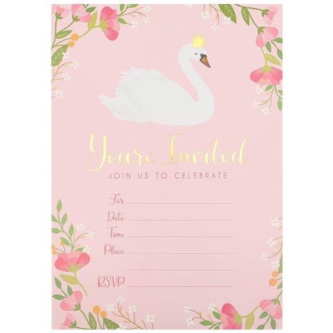 36x Swan Floral Celebration Invitation Envelopes for RSVP Party, Pink 5 x 7 inch - 36 Pack