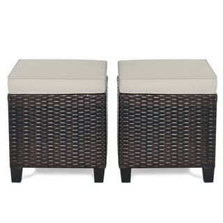 Set of 2 Outdoor Patio Rattan Ottomans Cushioned Wicker Stools