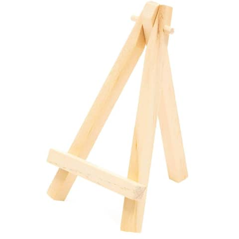 24x Natural Wood Mini Easels Place Card Holder for Small Picture Decoration 5""