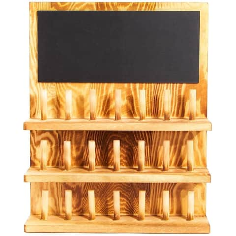 Wall-Mounted Wood Ring Display Box, Chalkboard, 3 Tier 21 Posts 11.8 x 3 x 15 in
