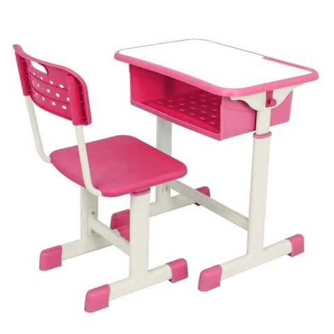 Adjustable Student Table Learning Desk and Chair Kit Pink and Blue