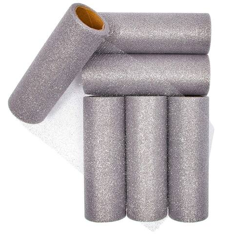 "6x Tulle Rolls Silver Glitter Fabric Roll for Wedding Decor 6""x 10 Yards - 6"""