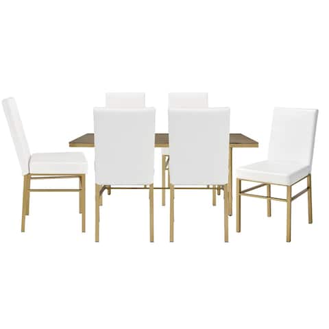 7 Piece Dining Set with Leatherette Seat and Metal Legs, Oak Brown and Gold