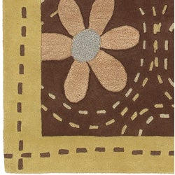 Hand-tufted Gold Floral Bordered Fleur Wool Rug (9' x 13') - Thumbnail 1