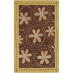 Hand-tufted Gold Floral Bordered Fleur Wool Area Rug (9' x 13') - 9' x 13' - Thumbnail 0