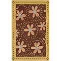 Hand-tufted Gold Floral Bordered Fleur Wool Area Rug (9' x 13') - 9' x 13'