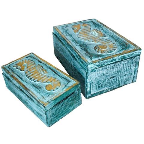 The Curated Nomad Bali Sweet Seahorses 2-piece Wooden Box Set