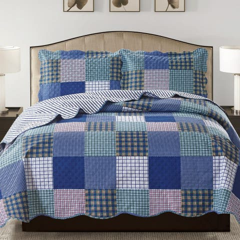 Suzy 3 Piece Quilt Set queen and king size - Blue
