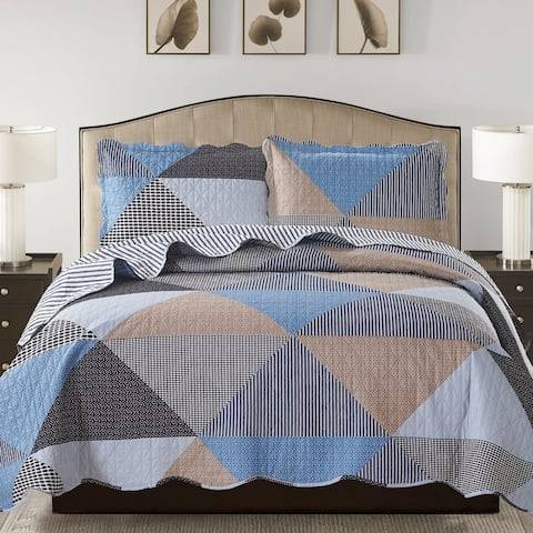 Suzy 3 Piece Quilt Set queen and king size - Grey