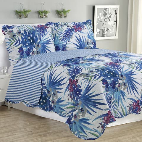 Melissa - 3 Piece Quilt bedspread Set queen and king size - Blue Floral