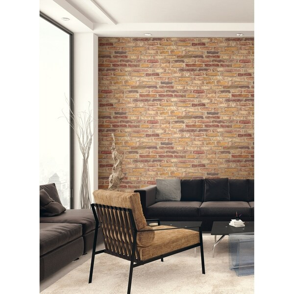 NextWall Red Faux Rustic Brick Peel and Stick Removable Wallpaper - 20.5 in. W x 18 ft. L. Opens flyout.
