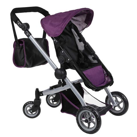 Doll Stroller with Swiveling Wheels and Carriage Bag, Purple