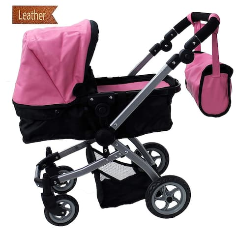 Luxury Faux Pink Leather Doll Stroller Foldable with Carriage Bag