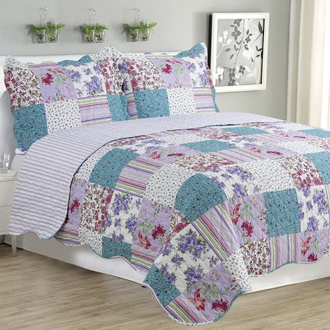Kim - 3 Piece Quilt Set queen and king size - Purple