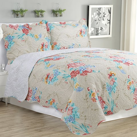 Kim - 3 Piece Quilt bedspread Set queen and king size - Rose