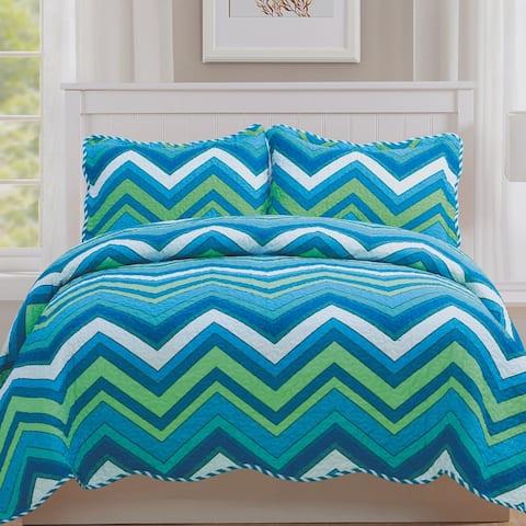 Monica - 3 Piece Quilt bedspread Set queen and king size - Aqua