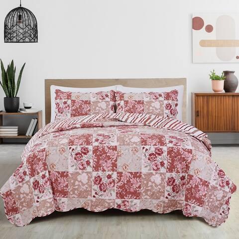 Great Bay Home Elizabeth Floral Patchwork Reversible Quilt Set