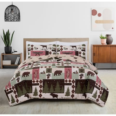 Great Bay Home Wilder Rustic Lodge Cabin Reversible Quilt Set