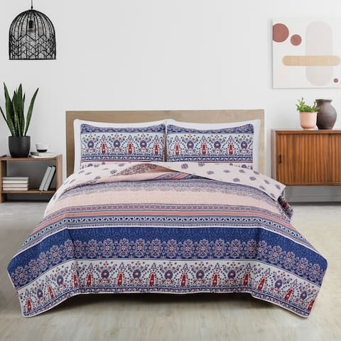 Great Bay Home San Mateo Boho Striped Reversible Quilt Set