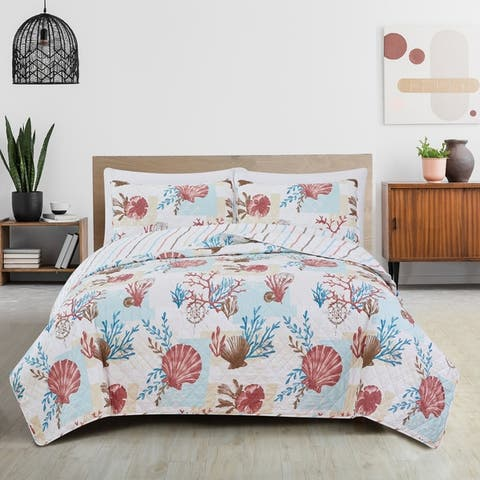 Great Bay Home Seabreeze Coastal Beach Reversible Quilt Set