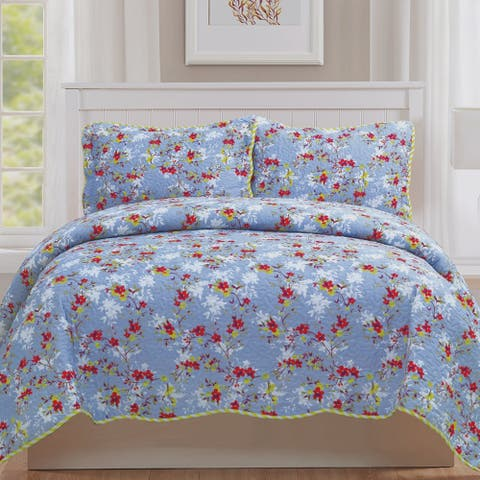 Monica - 3 Piece Quilt bedspread Set queen and king size - Yellow