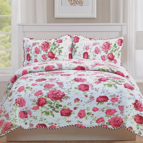 Monica - 3 Piece Quilt bedspread Set queen and king size - Pink