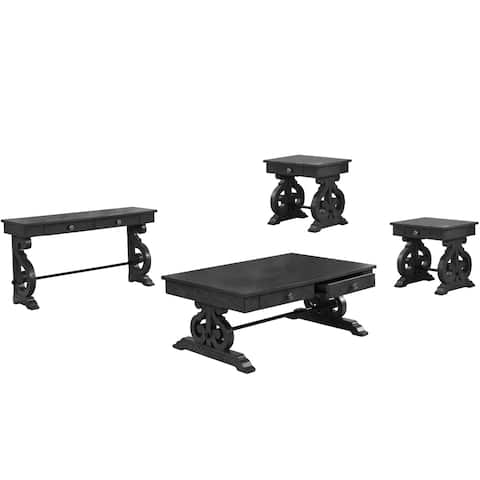 Best Quality Furniture 4-Piece Dark Grey Coffee Table Set with Two End Tables