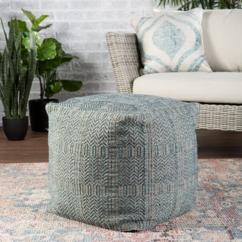 Ailith Indoor/ Outdoor Tribal Cube Pouf