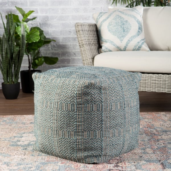"""Ailith Indoor/ Outdoor Tribal Cube Pouf - 18""""X18""""X18"""""""