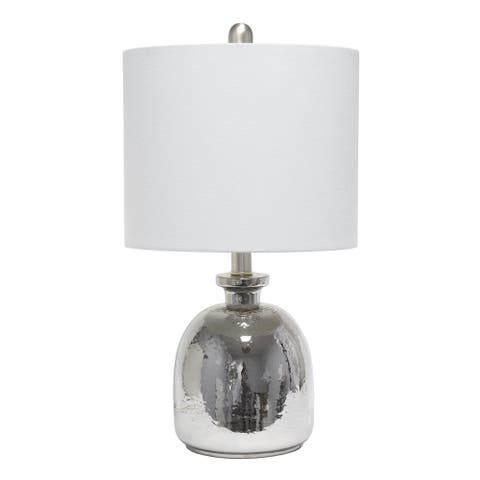 Lalia Home Metallic Gray Hammered Glass Jar Table Lamp