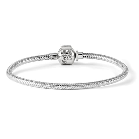 Curata 925 Sterling Silver Hinged Reflections Clasp Bead Bracelet 7.75 Inch Jewelry Gifts for Women