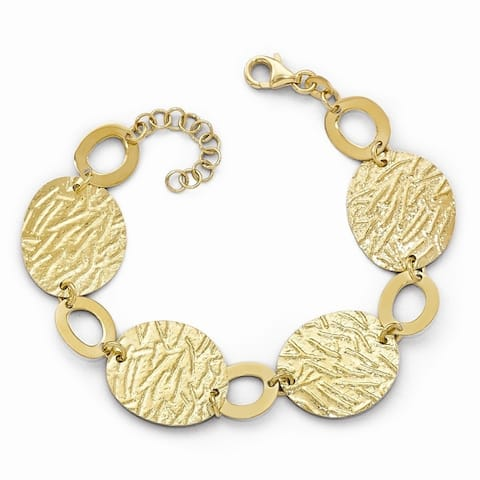Curata 925 Sterling Silver 14k Gold Plated Textured With 1inch Bracelet 7 Inch Jewelry Gifts for Women
