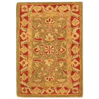 Safavieh Handmade Anatolia Oriental Green/ Red Hand-spun Wool Rug (2' x 3')