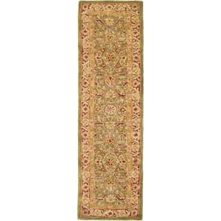 Safavieh Handmade Anatolia Oriental Green/ Red Hand-spun Wool Runner (2'3 x 10')