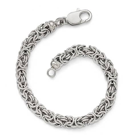 Curata 4.25mm 925 Sterling Silver Polished Byzantine Bracelet 7.5 Inch