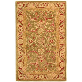 Safavieh Handmade Anatolia Oriental Green/ Red Hand-spun Wool Rug (3' x 5')