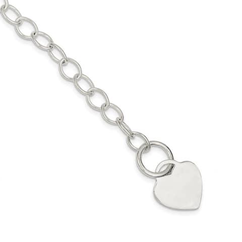 Curata 925 Sterling Silver Polished Engravable Toggle Closure Toggle Link Love Heart Bracelet
