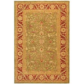 Safavieh Handmade Anatolia Oriental Green/ Red Hand-spun Wool Rug (6' x 9')