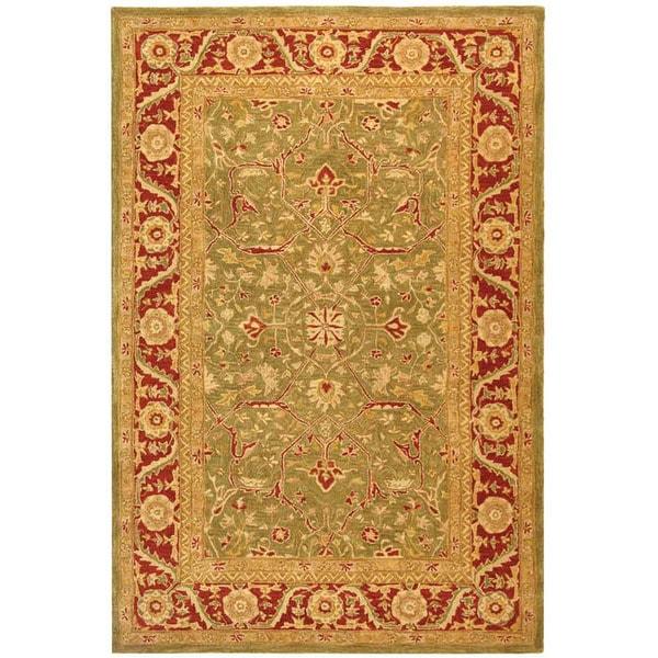 Safavieh Handmade Ancestry Green/ Red Wool Rug (6' x 9')