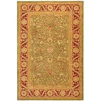 Safavieh Handmade Anatolia Oriental Green/ Red Hand-spun Wool Rug (5' x 8')