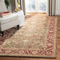 Safavieh Handmade Anatolia Oriental Green/ Red Hand-spun Wool Rug - 5' x 8'