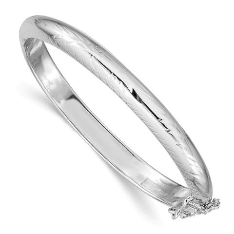 Curata 925 Sterling Silver Hollow Polished Flat back Safety clasp 5mm Baby Hinged Cuff Stackable Bangle Bracelet