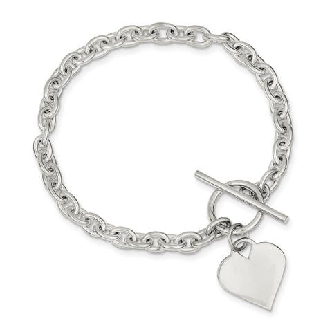 Curata 925 Sterling Silver Polished Engravable Love Heart Toggle Bracelet 8 Inch