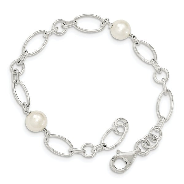 Curata 925 Sterling Silver Fancy Lobster Polished Freshwater Cultured Pearl Bracelet 7.5 Inch. Opens flyout.