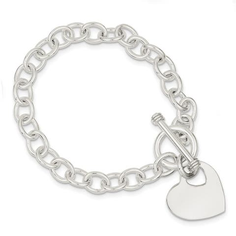 Curata 925 Sterling Silver Polished Closure Love Heart Disc Fancy Toggle Bracelet 7.75 Inch