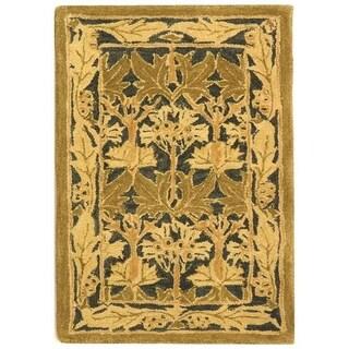 Safavieh Handmade Anatolia Oriental Traditional Navy/ Sage Green Hand-spun Wool Rug (2' x 3')