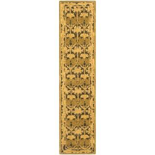 Safavieh Handmade Anatolia Oriental Traditional Navy/ Sage Green Hand-spun Wool Runner (2'3 x 12')